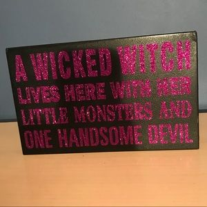 Other - Halloween wooden wall art-Black/purple sparkle